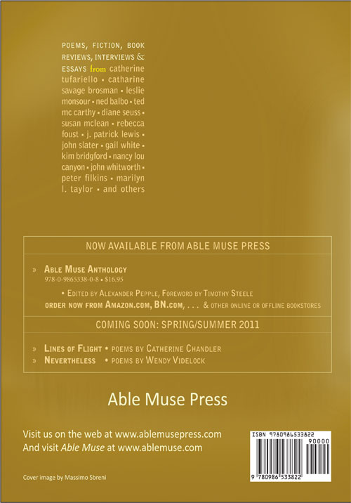 Poetry Book Back Cover ~ Able muse inaugural print edition number winter